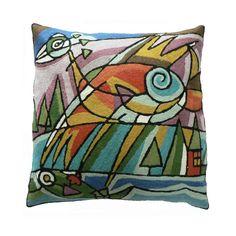 Dit schitterende wollen kussen Picasso vogelis geproduceerd volgens de traditionele technieken, handgeborduurd in Kashmir in 100% wol in de kettingsteek en geverfd met natuurlijke grondstoffen. De ondergrond is van stevige canvas (100% katoen). Geinspireerd op de beroemde kunstenaar Pablo Picasso.