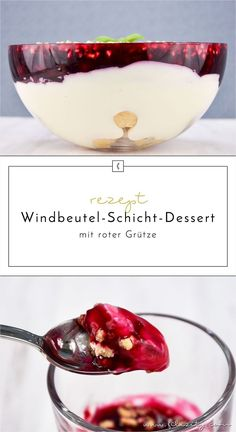 Windbeutel-Schicht-Dessert mit roter Grütze This puff pastry dessert with red porridge is layer by layer a delight! If you too are a sweetie, you'll love this recipe! Trifle Desserts, Sweet Desserts, Delicious Desserts, Dessert Drinks, Puff Pastry Desserts, Puff Pastry Recipes, Food Cakes, Cream Puff Dessert, Punch Bowl Cake