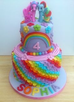 unicorn two tier birthday cake - Google Search