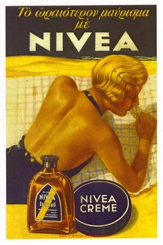 NIVEA 1930 Vintage Advertising Posters, Advertising Signs, Vintage Advertisements, Vintage Ads, Vintage Images, Vintage Prints, Vintage Posters, Old Commercials, Poster Ads