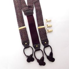 Combination Button Braces and Clip Suspenders, Ferrell Reed Red Blue and Gold Woven Paisley, Grooms Wear, Mens Accessories, ID 224128048 by LaBelleBead on Etsy