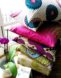 African wax print throw pillows