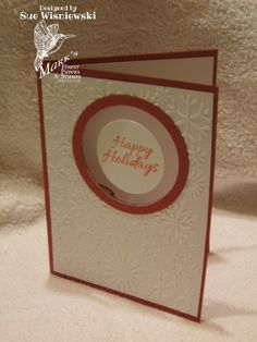 suspended card  - uses clear thread. stamping sue http://stampingsueinconnecticut.blogspot.com/