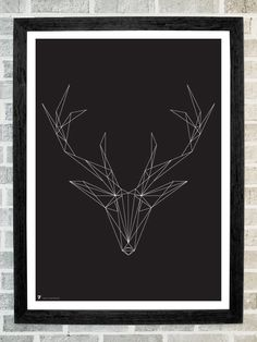 Deer head triangles print 11 X 16 by Stola12 on Etsy