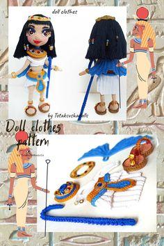 Crochet Doll Pattern, Crochet Toys Patterns, Stuffed Toys Patterns, Underwear Pattern, Collar Pattern, Handmade Ideas, Bracelet Making, Egyptian, Doll Clothes
