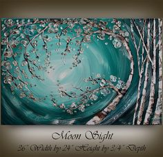 LARGE ABSTRACT PAINTING Birch Tree Art by ContemporaryArtDaily, $250.00