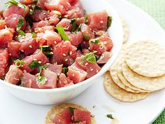 Tuna Poke | Reader Shirley Bellman, of Northridge, California, gave us this recipe for the classic Hawaiian appetizer of cubed raw ahi tuna. It's easy to throw together at the last minute.