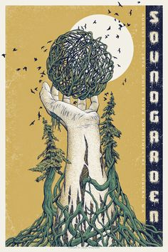 Soundgarden Gig poster Artwork by Neal Williams Guest star Ray LaMontagne Plus Trampled August 2014 White river amphitheatre Auburn, Washington WA Tour Posters, Band Posters, Musik Illustration, Vintage Music Posters, Retro Posters, Graffiti, Kunst Poster, Music Artwork, Rock Art