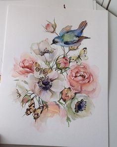ideas flower art work watercolour for 2019 Watercolor Drawing, Watercolor Print, Watercolor Illustration, Watercolor Flowers, Watercolor Paintings, Illustration Flower, Lotus Flower Art, Art Folder, Bird Drawings
