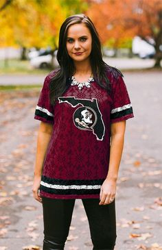 Game Day Couture Florida State University Seminoles Lace Oversized Jersey - Bows and Arrows www.bowsandarrowsco.com
