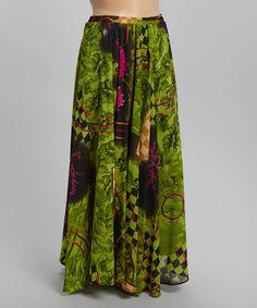 Look at this #zulilyfind! Green Floral Checkerboard Maxi Skirt - Plus by Meetu Magic #zulilyfinds