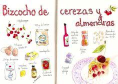 Gastro Andalusi ♥ Recetas ilustradas: Bizcocho esponjoso de cerezas y almendras