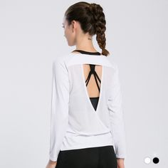 Yoga Shirts Women Lady Breathable Quick Dry Mesh Sport Long Sleeve Loose Fitness Running Sports T shirt Sexy Clothes White Solid