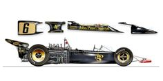 art auto painting drawing lotus f1 72 jps fittipaldi ronnie peterson cosworth Verrando