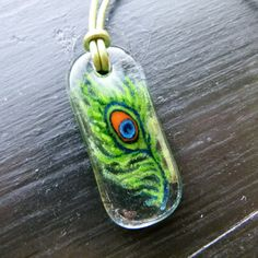 Peacock feather necklace   fused glass pendant   by ArtoftheMoment, $48.00