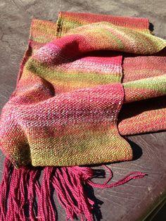 Weaving - Sock yarn warp, handspun weft