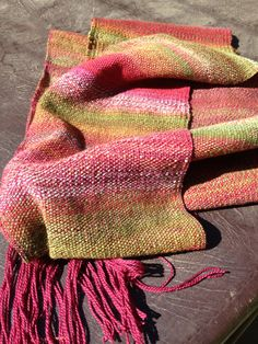 Weaving - Sock yarn warp, handspun weft