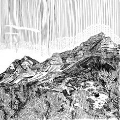Available for sale, Table Mountain by Cape Town artist Kitty Dörje, ink on paper size 54 x 54 cm unframed. Secure online purchase and delivery to door. Mountain Drawing, Table Mountain, Online Art Gallery, Line Drawing, Inktober, Fine Art Paper, South Africa, City Photo, Invitation
