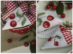 Charming cross stitched Strawberry & Cherry Heart ornaments... #CrossStitch #Cherry #Strawberry #RedGingham #Heart #Needlework