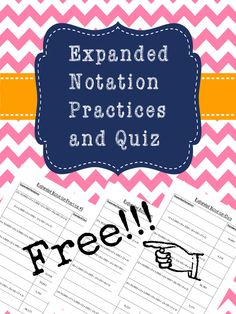 Today I would like to share with you some resources I have created to help my 3rd and 4th graders with expanded notation! Here is a TOTALLY FREE download!      It has 2 practice pages and a quiz. T...
