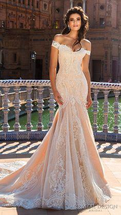 crystal design 2017 bridal off the shoulder semi sweetheart neckline full embelllishment elegant ivory color lace fit flare wedding dress chapel train (alexa) mv