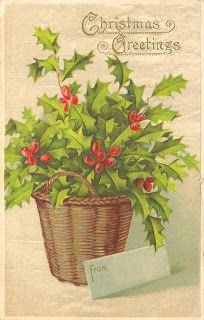 Antique Images: Free Vintage Christmas Printable Gift Tag: Vintage Christmas Postcard with Holly Berries and leaves