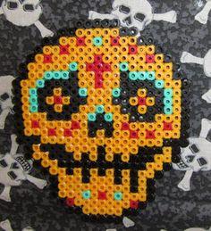 Orange Day Of The Dead Sugar Skull In Perler by GiacomoDesigns, $13.00