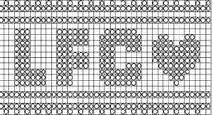 Bilderesultat for liverpool genser oppskrift Liverpool Logo, Liverpool Football Club, Knitting Charts, Knitting Patterns, C2c, Logos, Crochet, Batman, Sport