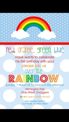 rainbow birthday invitation colorful birthday party invite girls
