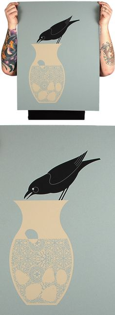 Aesop's Fables: 'The Crow and the Vase' Print