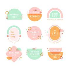 Pastel colors minimal logo set Free Vect... | Free Vector #Freepik #freevector #logo #label #design #badge Graphic Design Branding, Label Design, Minimal Graphic Design, Design Packaging, Web Design, Layout Design, Logo Simple, Design Digital, Pastel Designs