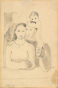 ComJeitoeArte: A Criança e a Arte Portuguesa, Auto-retrato com família, desenho, grafite e aguada, 1930-1931. Mário Eloy - Museu do Chiado, Museu Nacional de Arte Contemporânea