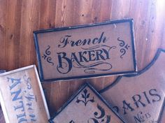 French Country French Bakery sign on by OldeParisFleaMarket. $13.75 USD, via Etsy.