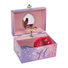 Music Jewelry Storage Organizer Box Butterfly Flower Design Pink Purple Gift New #JewelKeeper