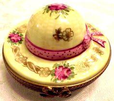 Limoges France PV Parry Vieille Peint Main Straw Easter Hat W Rabbit Trinket Box