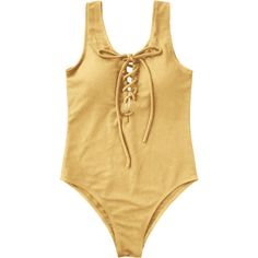 Textured Padded Lace Up One Piece Swimsuit (€13) ❤ liked on Polyvore featuring swimwear, one-piece swimsuits, bikinis, tops, zaful, padded one piece swimsuit, padded swimsuits, one piece bikini swimwear, padded bikinis and 1 piece bathing suits