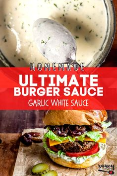 Our White Garlic Sauce uses just 6 ingredients for an easy sauce recipe you will want to use with everything from pasta to pizza! This deliciously creamy roasted garlic sauce is so flavorful and ready in less than 20 minutes. Garlic Sauce For Pizza, White Garlic Sauce, White Cream Sauce, Easy White Sauce, Garlic Dipping Sauces, Creamy Garlic Sauce, Easy Sauce Recipe, White Sauce Recipes, White Sauce Lasagna