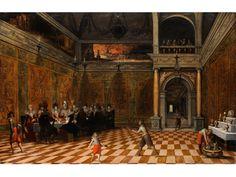 """DAS GASTMAHL, UM 1620 Öl auf Eichenholz. 49 x 76 cm. Verso Nachlassetikett mit rotem Siegel """"H von Haw'scher"""", Nachlassnummer """"66"""". Gerahmt. Das..."""