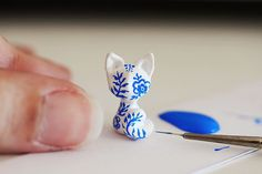 Royal Copenhagen inspired tiny cat - miniature white kitten with blue floral pattern
