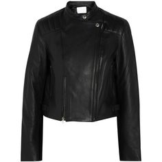 Alexander Wang Leather biker jacket (€630) ❤ liked on Polyvore featuring outerwear, jackets, black, leather biker jacket, black leather jacket, quilted jacket, asymmetrical zip jacket and leather moto jacket