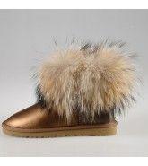 Classic Mini Fox Fur 5854 Metallic Ugg Boots - Brown $160.00 http://www.theonfoot.com