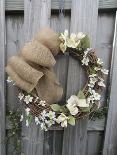 18 round grapevine wreath  with burlap bow and white by TGallerie, $25.00