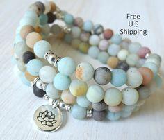 Amazonite Mala 108 beads Mala Bracelet or par LifeForceEnergyShop