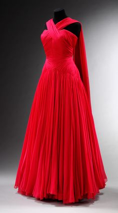 ~Circa 1953 Chiffon Dress by Jean Desses~ via Victoria and Albert Museum.