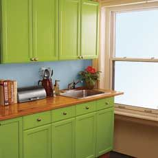 To improve the interior of your home, you may want to consider doing a kitchen remodeling project. This is the room in your home where the family tends to spend the most time together. If you have not upgraded your kitchen since you purchased the home,. Green Kitchen Cabinets, Farmhouse Kitchen Cabinets, Old Kitchen, Painting Kitchen Cabinets, Kitchen On A Budget, Kitchen Paint, Updated Kitchen, Kitchen Redo, Kitchen Remodel