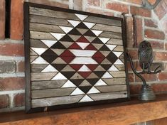 Reclaimed wood wall art - Southwestern wood wall art - Navajo Aztec inspired by PaintedPonyBySandy on Etsy Inspired by Native American Navajo weaving, this reclaimed wood wall art will add a touch of the southwest to your home decor. Reclaimed Wood Wall Art, Wood Wall Decor, Wooden Wall Art, Barn Wood, Wood Art, Salvaged Wood, Wood Canvas, Barn Quilt Patterns, Wood Mosaic
