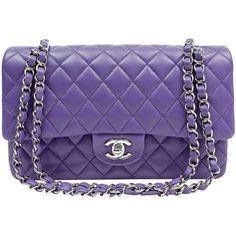 Chanel Purple Lambskin Medium Double Flap Classic Bag (117.586.880 IDR) ❤ liked on Polyvore featuring bags, handbags, chanel shoulder bag, lambskin purse, handbags shoulder bags, purple shoulder bag and chanel