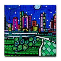 Houston Art tile City Texas Folk Art Ceramic Tile