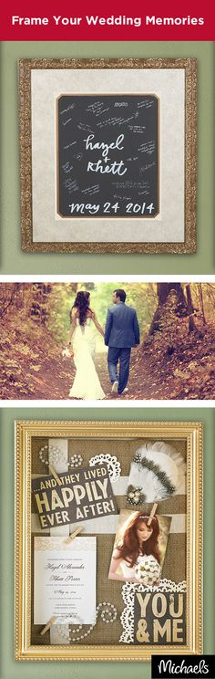 Frame your wedding memories to last a lifetime. Custom frame your bridal photos or guest's signatures or create a beautiful shadowbox to cherish keepsakes from your nuptials. No matter the memory, Michaels has everything you need to preserve it.