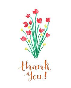 Thank You Florals  Handdrawn Watercolor and by PapersAndPastels, ₱200.00
